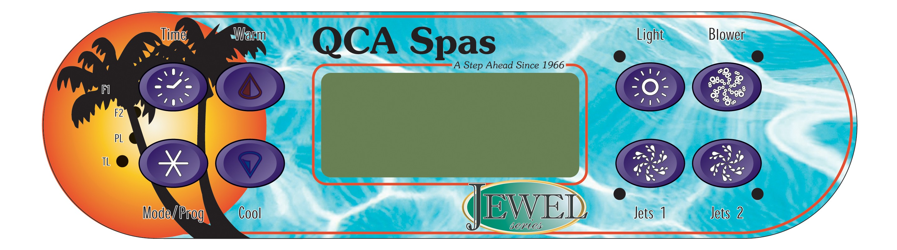Panel:Majestic, Jewel & Paradise 8 Button QCA Factory Topside Control WITH Overlay