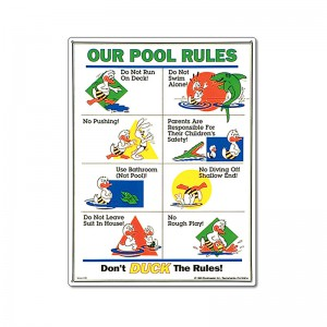 Sign: Duck's Our Pool Rules